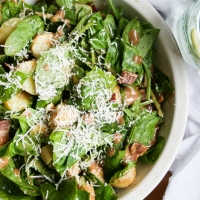 Warm Potato Spinach Salad [Nigel Slater Project #19]
